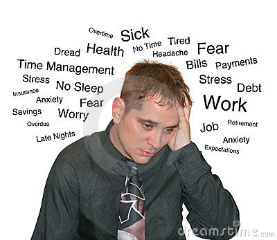 Business Stress Man with Text Worry