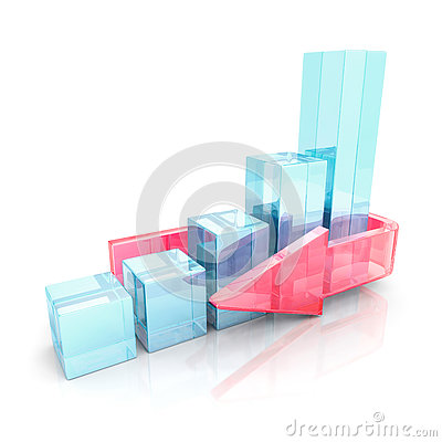 Free Business Success Bar Graph With Red Glass Arrow Royalty Free Stock Images - 77887289