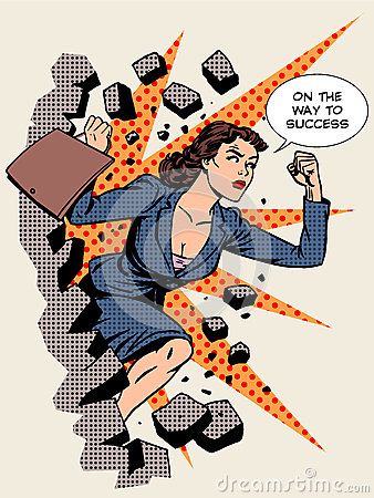 Free Business Success Businesswoman Breaks The Wall Stock Image - 59723381