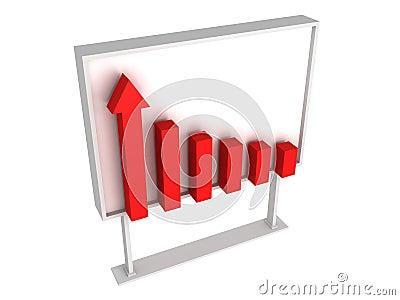 Business success red graph diagram