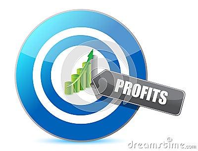 Business target profits graph illustration design