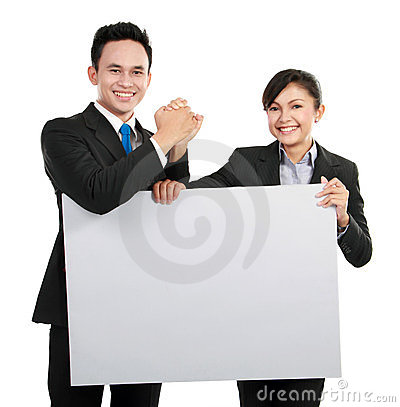 Business team with big blank card