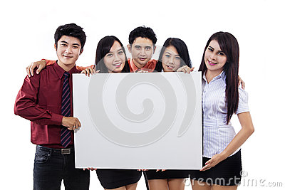 Business team and blank billboard