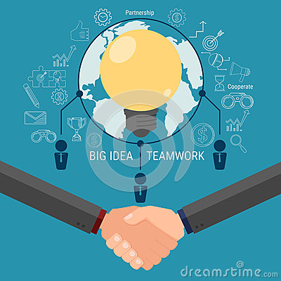 Business team brainstorm and get big idea. Cooperate global business success concept. Vector Illustration