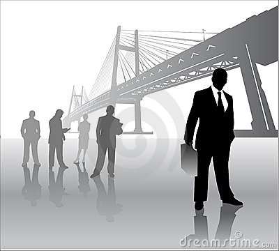 Business team with bridge