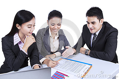 Business team busy at a meeting