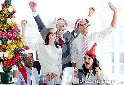 Business team celebrating Christmas