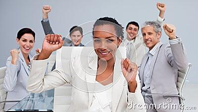 Business team celebrating a sucess