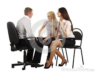 The business team on the chairs
