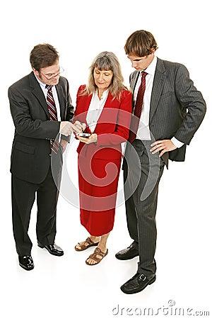 Business Team Checks Market