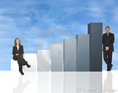 Business team with column chart