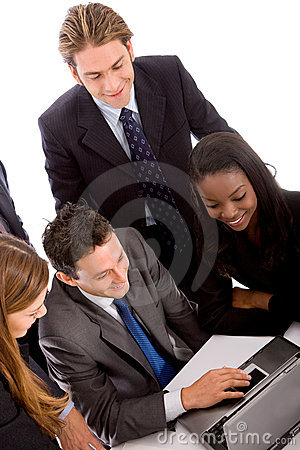 Business team on a computer