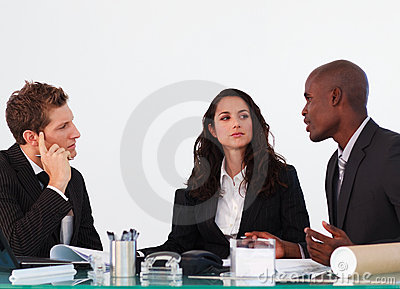 Business team discussing a new plan