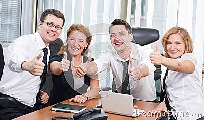 Business team express positivity