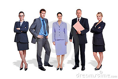 Business team five people isolated