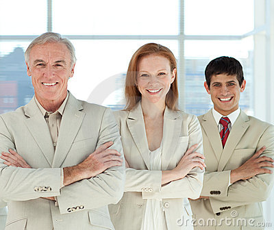 Business team with folded arms in a line