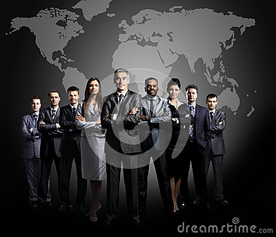 Business team formed of young businessmen