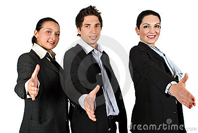 Business team handshake in a row