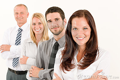 Business team happy standing in line portrait