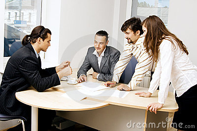Business team having a discussion