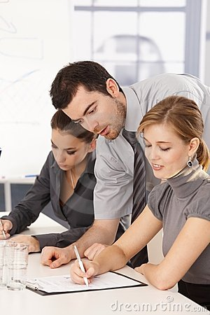 Business team having training