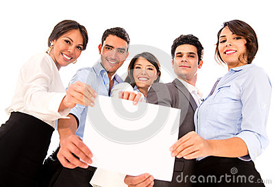 Business team holding document