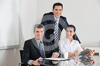 Business team with laptop computer