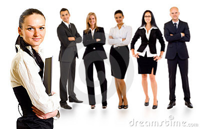 Business team with a leader