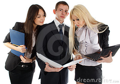 The business team look in the folder