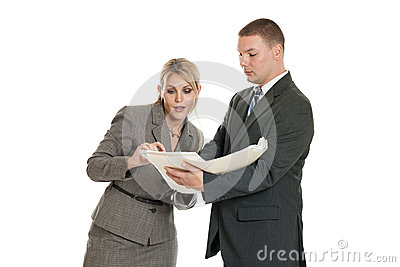Business team looking at folder
