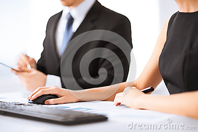 Business team on meeting using computer