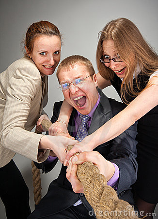 Business team pulling a rope