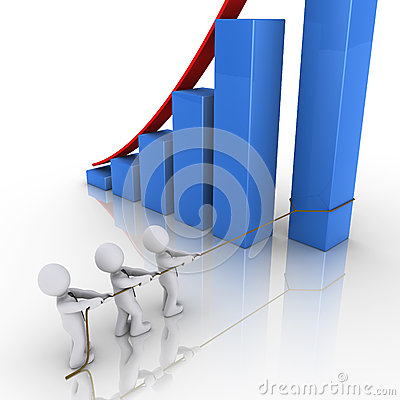 Business team putting column of rising graph
