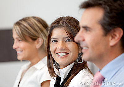 Business team smiling