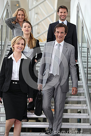 Business team in stairs