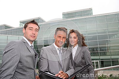 Business team standing outside