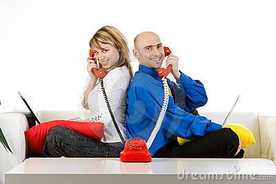 Business Team Talking On Phone