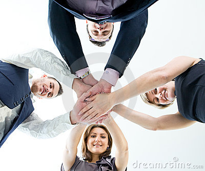 Business team with their hands