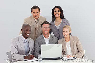 Business team working in office together