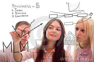 The business team write marketing plan of mlm