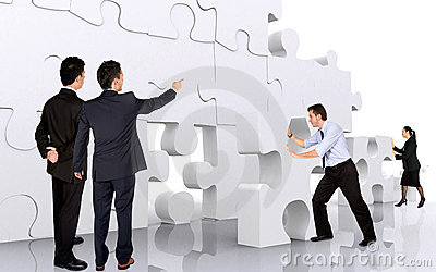 Business Teamwork - Business Men Making A Puzzle Stock Image - Image: 1920861
