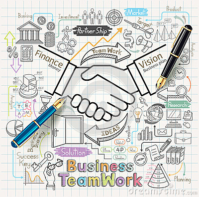 Free Business Teamwork Concept Doodles Icons Set. Royalty Free Stock Photos - 62874008