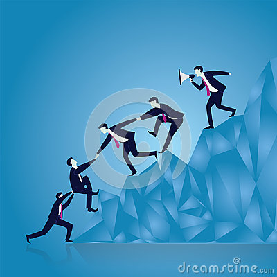 Business Teamwork to Reach Success Together Vector Illustration