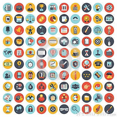 Business, technology and finances icon set for websites and mobile applications and services. Flat vector Cartoon Illustration