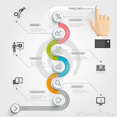 Free Business Timeline Infographic Template. Royalty Free Stock Image - 44157546