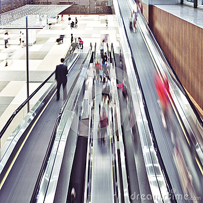 Business travel on escalators
