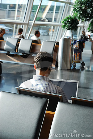Free Business Traveler Waiting In An Airport Lounge Stock Photo - 3287370