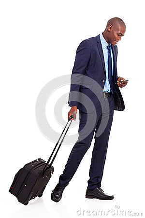 Business traveller walking