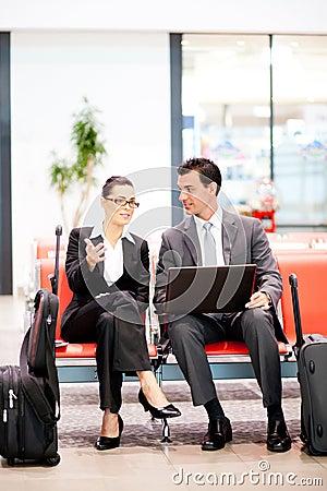 Business travellers waiting flight