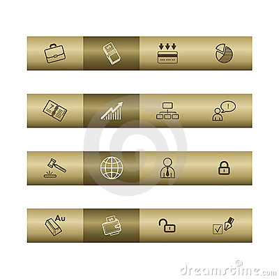 Business web icons on bronze bar